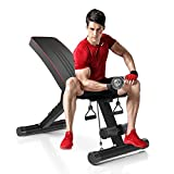 Dripex sports Adjustable Olympic Weight Bench - Utility Exercise Workout Bench for Full Body, Home Gym Strength Training/7-Level, 330 lbs Capacity, Fordable Incline&Decline Bench