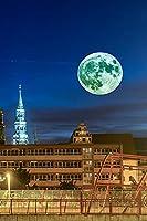 ドイツツヴィッカウムーンフェンス夜の家都市大人のパズル子供1000ピース木製パズルゲームギフト家の装飾特別な旅行のお土産