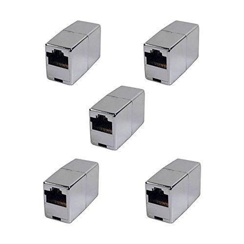 BIGtec 5 Stück RJ45 Ethernet LAN Kabel Kupplung Adapter Verbinder Netzwerk Modular Netzwerkkoppler für Patchkabel Netzwerkkabel Ethernetlan Ethernetkabel verlängern Verlängerung