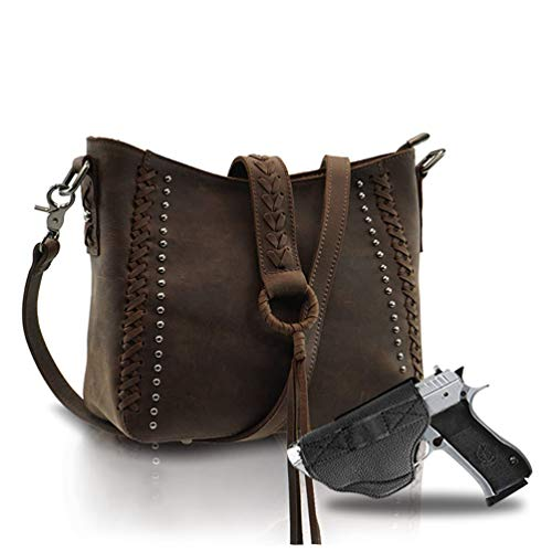 Genuine Leather Concealed Carry Hobo Purse For Women Studded Cowhide Ladies Shoulder Bag With Crossbody Strap Coffee