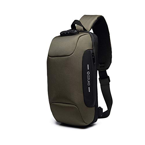Wisfruit Anti Theft Sling Bag with USB Charging Port Casual Lightweight Chest Crossbody Daypack Waterproof (army green)