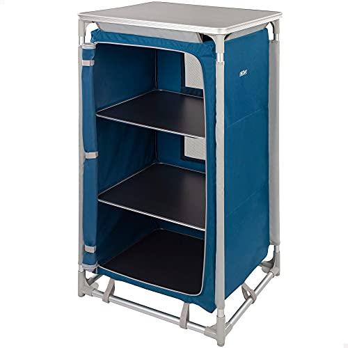 Aktive 52853-Mueble plegable cocina, camping, jardín, armario plegable aluminio, armario portátil ligero, 60x49x106 cm, color azul marino