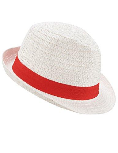 Vegaoo - Weißer Borsalino-Hut mit rotem Band für Erwachsene - Einheitsgröße