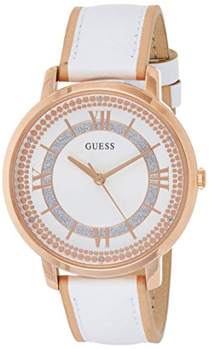 Guess Damen Analog Quarz Uhr mit Leder Armband W0934L1
