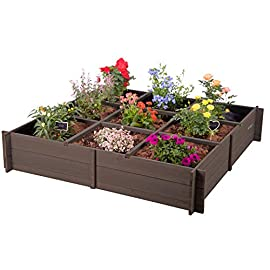 Raised Garden Bed Planter Box for Vegetables ,Flower Bed Outdoor with Inner Lining,Removable Shelves 4 ★Flowers planter with inner lining to promote faster plant growth through better aeration, it provides water drainage to stop overwatering. ★Garden bed easy to set up,stitching design simply splicing each parts together ★Spacious raised planter with grow grid,easy growing to 9 different flowers/herbs/vegetable.