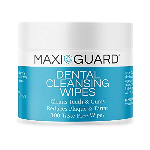 Maxi-Guard Dental Cleansing Wipes for Dogs, Cats, Horses and Companion Animals (100 Wipes), Light Blue/White