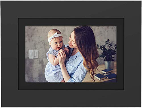 """PhotoShare Friends and Family Smart Frame 10.1"""" Digital Photo Frame, Send Pics from Phone to Frame, Wi-Fi, 8 GB, Holds Over 5,000 Photos, HD, 1080P, Black/White Mattes, iOS, Android"""