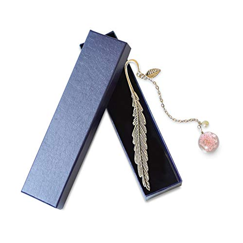 Mousyee Metallfeder Lesezeichen, Klassische Lesezeichen mit schöner blauer Box Metall Lesezeichen Feder mit getrockneter Blume Kreatives Geschenk für Mädchen Kinder Bürobedarf (Rosa)