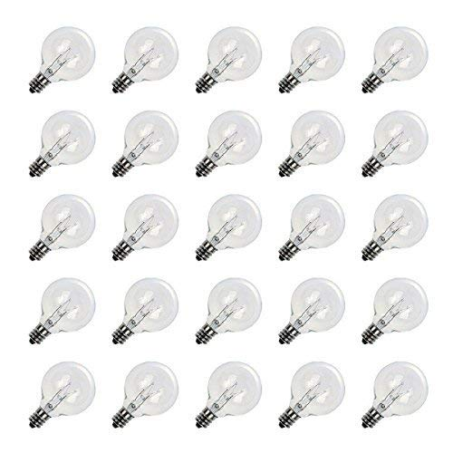 Brightown Pack of 25 G40 Bulbs Clear Globe Candelabra Screw Base Light Bulbs, Warm Replacement Glass Bulbs for G40 Strands