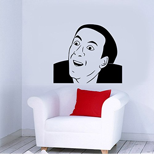 You Don't Say Nicolas Cage Internet Meme Removable Wall Sticker Art Home Office Room Mural Decor Vehicle Car Truck Window Bumper Graphic Decal- (20 inch) / (50 cm) Wide MATTE BLACK Color