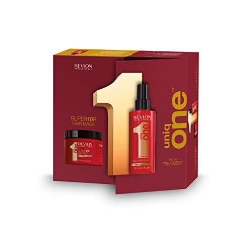 UniqOne Revlon Professional Classico Tratamiento en Spray para Cabello 150 ml y Super10R Mascarilla 300 ml - Pack 300 ml