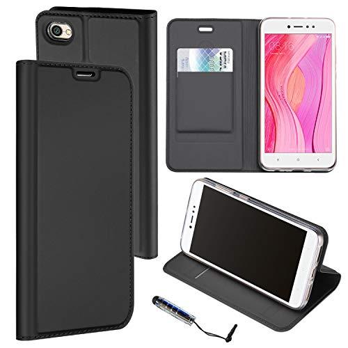 Ycloud PU Leder Tasche für Xiaomi Redmi Note 5A Prime High End Geschäft Wallet Flipcase mit Standfunktion Kartenfächer Entwurf Schwarz Hülle für Xiaomi Redmi Note 5A Prime