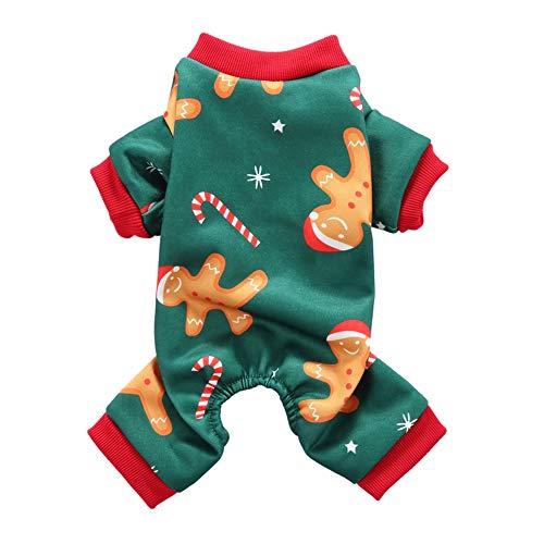 Handfly Pijamas para Perros Monos para Perros pequeños Trajes de Perros navideños Disfraz de Gato de Santa Ropa de Traje de Dormir para Perros y Gatos