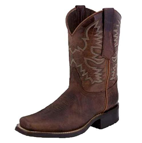 stivali western donna HarryHyar Unisex Classico Western Stivali Floreale Stivali Western Solid Pull On Stivali Medio Tacco a Blocco Vestito Stivali Brown Numero 43 Asiatico