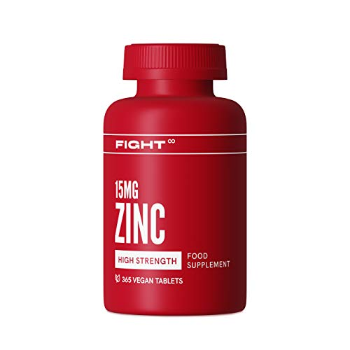 Vegan Zinc 15mg Tablets by FIGHT | 365x High-Strength Zinc Tablets | Zinc Supplements | Non-GMO, Gluten-Free Zinc Tablets to Support Healthy Hair and Skin | 1 Year Supply