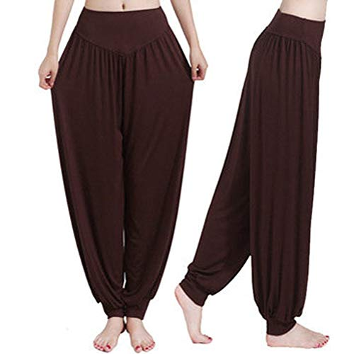Femmes Fitness Yoga Pantalons de Sport Taille Haute Jambes Larges et Extensibles Vêtements de Sport