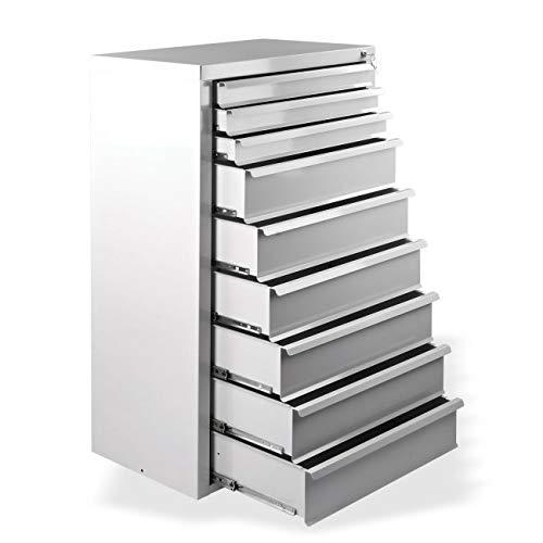 Werkstatt-Schubladenschrank mit 9 Schubladen, BxTxH: 700x435x1200 mm, RAL 7035, Lichtgrau