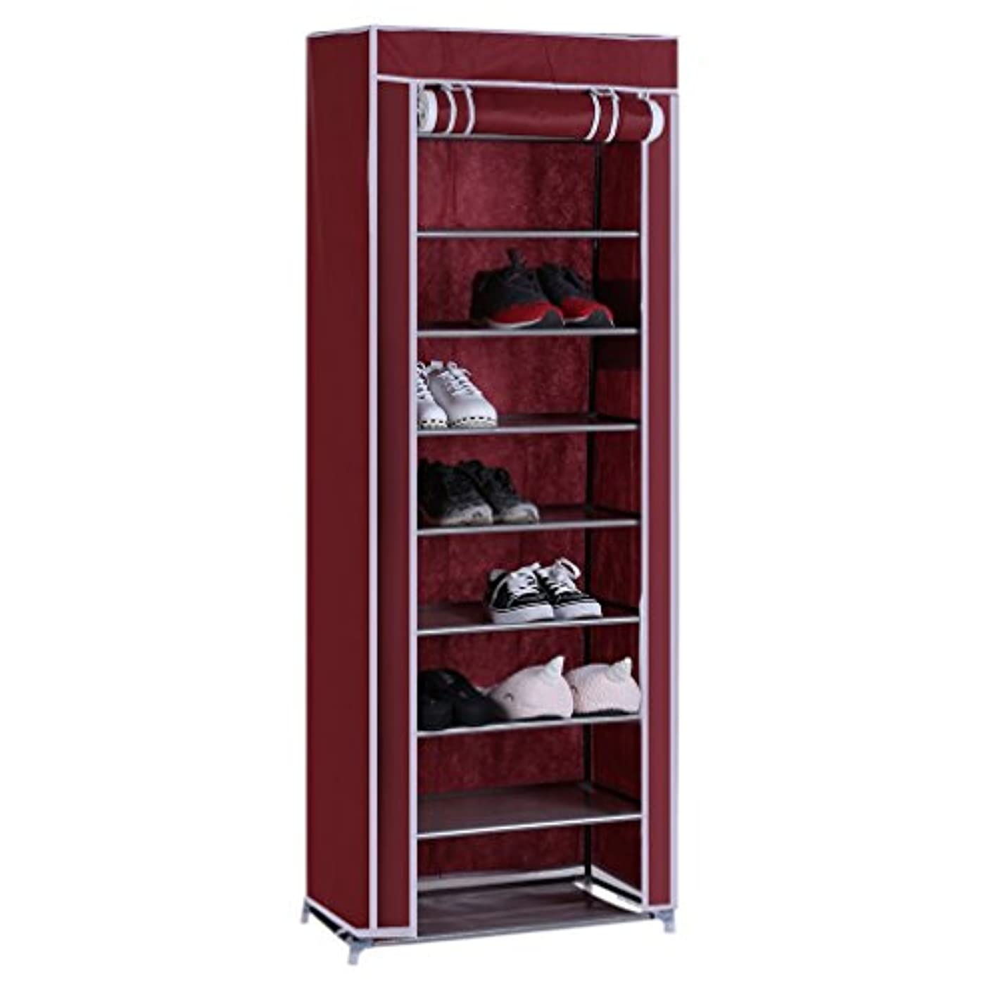 Homgrace 10 Tiers Shoe Rack Shoe Storage Organizer Cabinet Tower with Non-Woven Fabric Cover Shoes Storage Racks (Wine red)