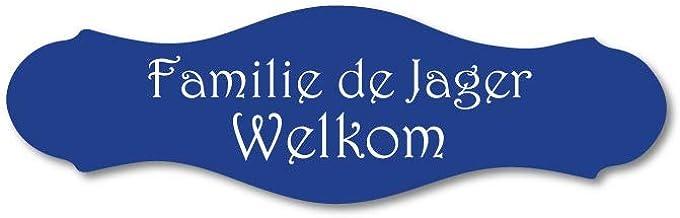 Naamplaatje blauw sierlijk t.b.v. brievenbus, 10x3 cm