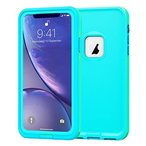 PINGTEKOR Waterproof iPhone XR Case,Retail Packaging,Rugged Heavy Duty Wireless Charging Full Body Protective with Built-in Screen Protector Clear Case for iPhone XR Case 2018 (Light Blue)