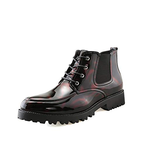Zhukeke Men's Chelsea Style Ankle Boots for Men High Top Oxford Derby Shoes Lace-up Synthetic Patent Leather Vegan Vamp Rubber Sole Fashion Wear-Resistant (Color : Wine, Size : 8 M US)