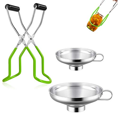 3 Pieces Stainless Steel Canning Funnel Canning Jar Lifter Set,Kitchen Jar Funnel,Canning Jar Lifter with Secure Grip Wide Mouth and Regular Jars for Home Canning Supplies,Kitchen Canning Tool (Green)