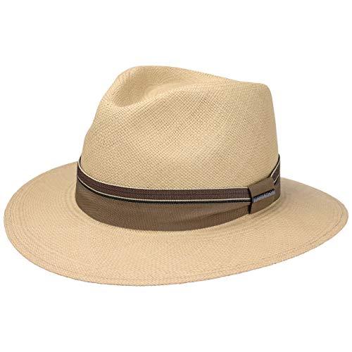 Stetson Sombrero Panamá Rushworth Traveller Hombre - Made in Ecuador de Playa Paja Panamá Verano con Banda Grosgrain Primavera/Verano