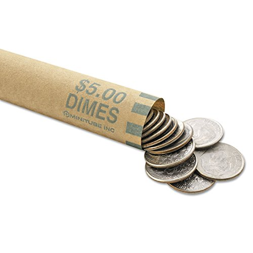 MMF Industries 2160640C02 Nested Preformed Coin Wrappers, Dimes, 5.00, Green, 1000 Wrappers/Box