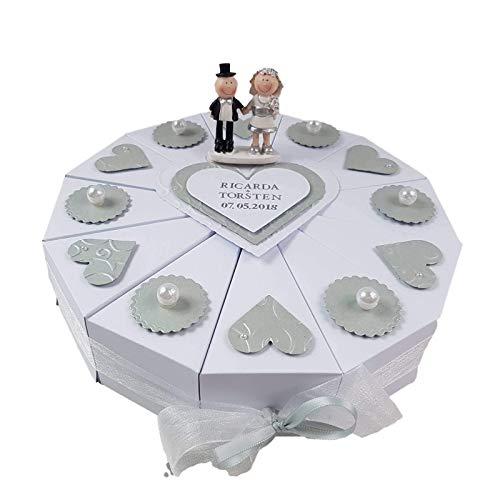 Schachteltorte SILBERHOCHZEIT WEISS-SILBER Geldgeschenk Hochzeit Torte