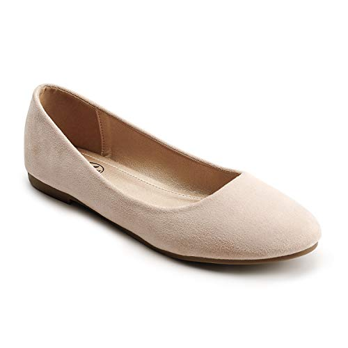 Trary Women's Classic Round Toe Slip on Ballet Flat Shoes New Nude Suede08