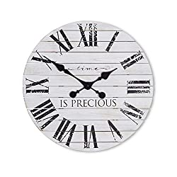 Kaffrey Shiplap Farmhouse Wall Clock - 18 Inch - Rustic Decor - Living Room Centerpiece - Wooden Accent - Farmhouse Kitchen Clock - Charming Phrase Clocks - French Countryside (Scripted White)