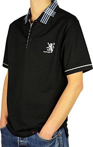I Luv Ltd Mens Scotland Lion Tartan Collar Polo Shirt Black Medium