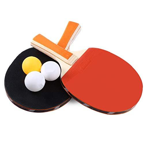 Homiki Tischtennisschläger Durable Pingpong-Schläger Tragbare 2 Schläger und 3 Bälle Durable Ping-Pong Paddel Set Sport Zubehör-1set Fitnessgeräte