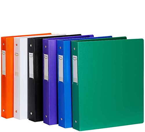 """3 Ring Binder, HYUNLAI 3 Ring Binder 1 Inch, 1 Inch Binder Holds 8.5""""11"""" Paper, Round Ring Binder Suitable for School, Home and Office(6 Pack)"""