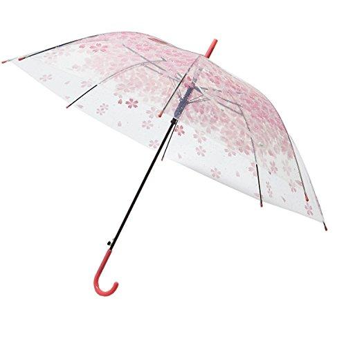 Le Monde du paraplu, transparant, met roze bloemen, paraplu, 98 cm, transparant