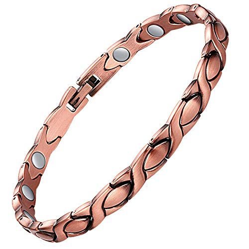 Feraco Copper Bracelet for Women Pain Relief for Arthritis 99.99% Solid Copper Magnetic Therapy Bracelets Unique X Shape Links Magnet Health Healing Jewelry