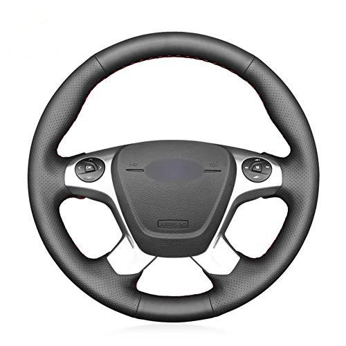 YHDNCG Funda de Cuero Negro para Volante de Coche, para Ford Transit Connect Tourneo Custom Grand To