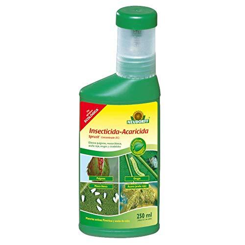 Neudorff Insecticida-Acaricida Concentrado RTU Spruzit®, JED y Agricultura Ecológica, Especial Huevos, Larvas y Adultos de Pulgones, Mosca Blanca, Araña Roja, Cochinillas (250 ml)