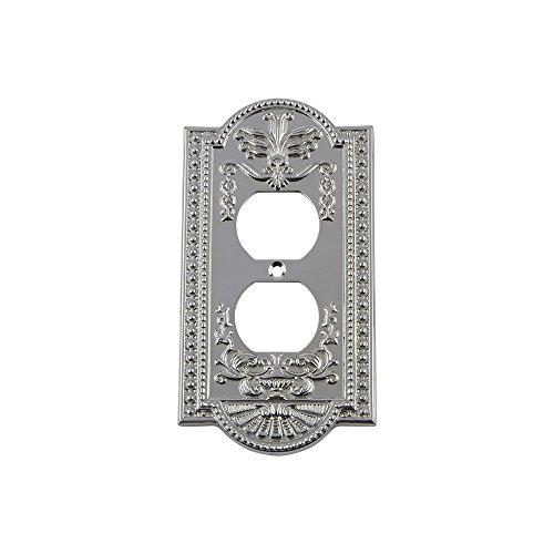 Nostalgic Warehouse 719860 Meadows Switch Plate with Outlet, Bright Chrome
