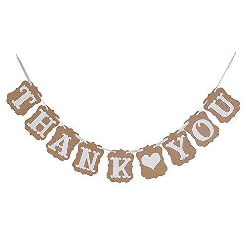 Demarkt Banderines de lino de Thank You de 3 m de arpillera, ideal para colgar en fiestas