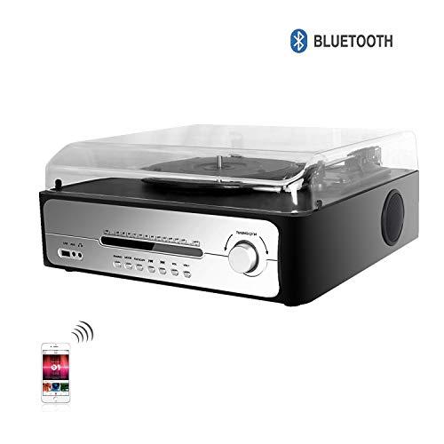 DLITIME FM-display Platenspeler Platenspeler met 3 snelheden Bluetooth Vinyl draaitafel, AUX-ingang, Stofbescherming