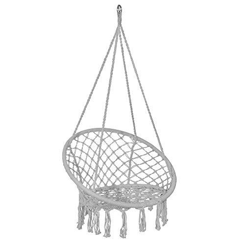 SPRINGOS - Silla colgante con flecos para jardín, diseño de macramé, trenzado, de algodón, con cuerdas y anillas, para exterior e interior