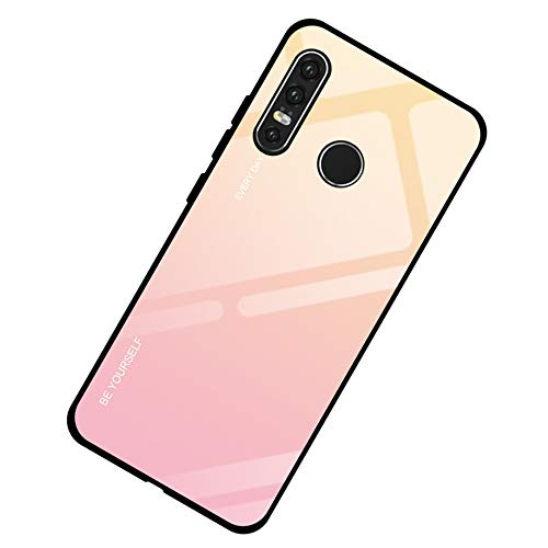 AIsoar Compatible with Huawei P30 Lite/Nova4E Colored Gradient Tempered Glass Case,Tempered Glass Back Cover + Soft TPU Bumper Frame Shockproof Anti-Scratch Protective Cover (Pink + Yellow)