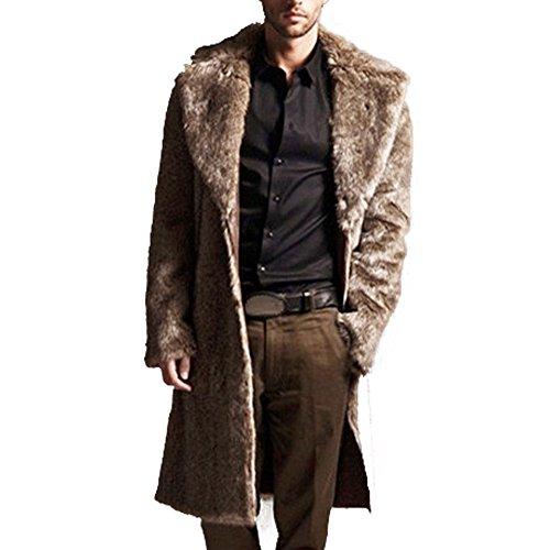Kemilove Men Faux Fur Coat Long Overcoat Outerwear Winter Stylish Jacket Brown