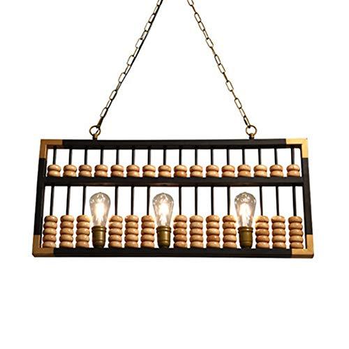 Augu Kreative Abakus-Kronleuchter Industrieholz-Schmiedeeisen Dekorative Pendelleuchte Massivholz-Decke Pendelleuchte E27 * 3 Höhenverstellbare Druckknopfschalter
