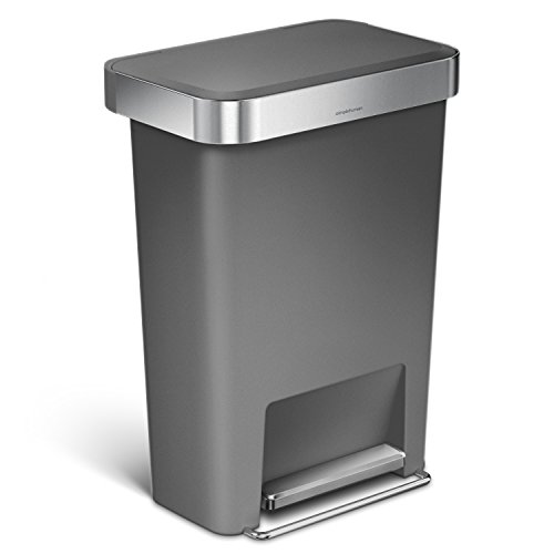 simplehuman 45 Liter/12 Gallon Rectangular Kitchen Step Trash Can with Liner Pocket, Grey Plastic With Stainless Steel Liner Rim And Step Pedal