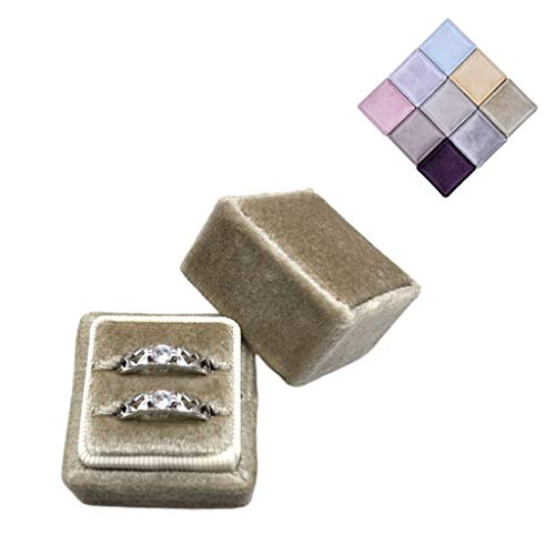 Y-POWER Velvet Double Ring Box Square Wedding Ceremony Ring Box with Detachable Lid