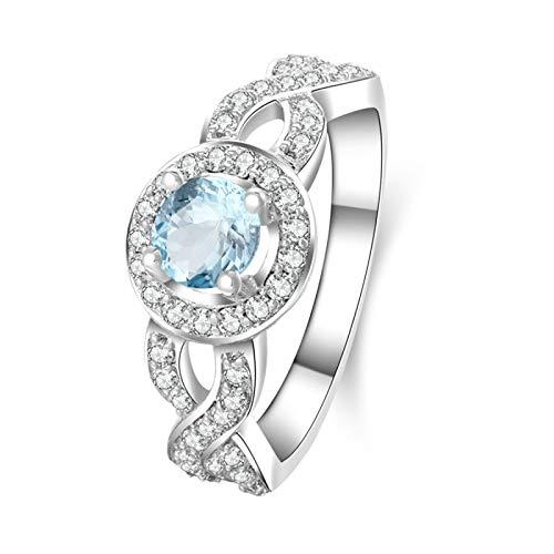 Anwaz Damen Ringe in 925 Sterling Silber Blau Topas Vertrauensring Glanz Damen Verlobungsringe Weiß Gold Gr.62 (19.7)