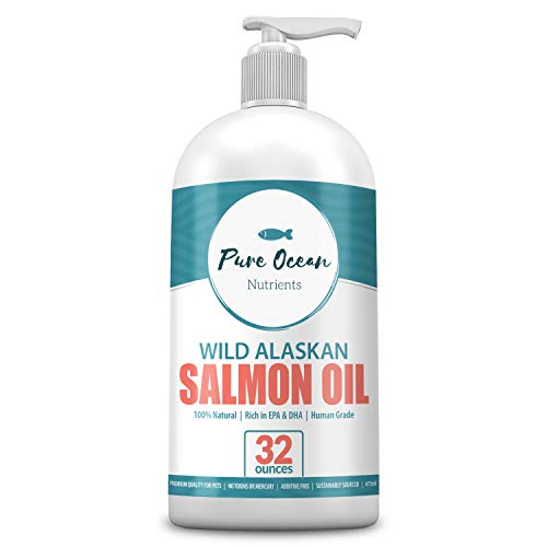 Wild Alaskan Salmon Oil for Dogs 32 Ounce; Natural Liquid Supplement with Omega 3s to Support Joint, Heart, and Immune Health Essential Fatty Acids Promote a Shiny Coat and Healthy Skin