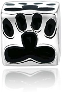 Everbling Black Enamel Dog Paw Print Square Bead Animal 925 Sterling Silver Bead Fits European Charm Bracelet